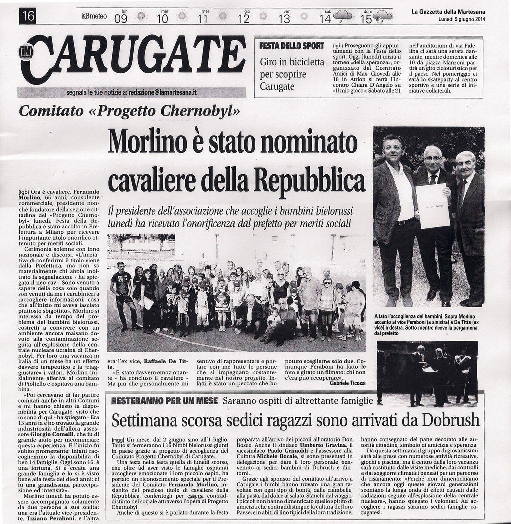 """Gazzetta della Martesana: """"Morlino è stato nominato Cavaliere della Repubblica"""""""